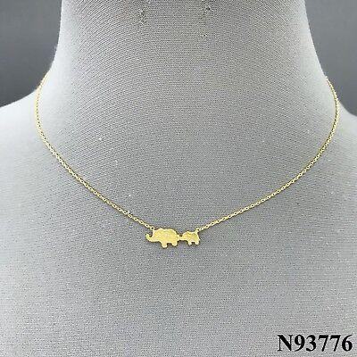 Gold Tone Chain Momma and Baby Animal Elephant Charm Pendant Dainty Necklace Elephant Animal Charm Pendant