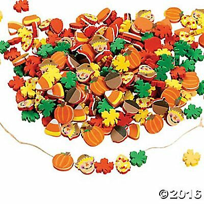 500 HARVEST BEADS ASSORTMENT pumpkins, leaves, candy corn, scarecrows, acorns