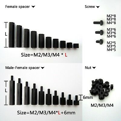 25100pcs Black Plastic Nylon M2 M3 M4 Hex Column Standoff Spacer Phillips Screw