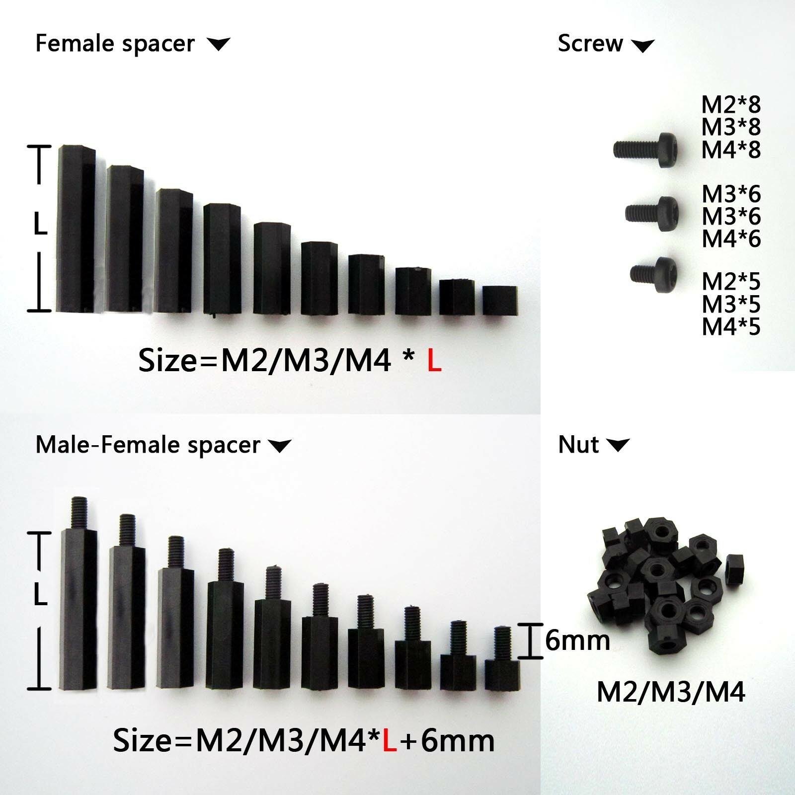 25/100pcs Black Plastic Nylon M2 M3 M4 Hex Column Standoff Spacer Phillips Screw