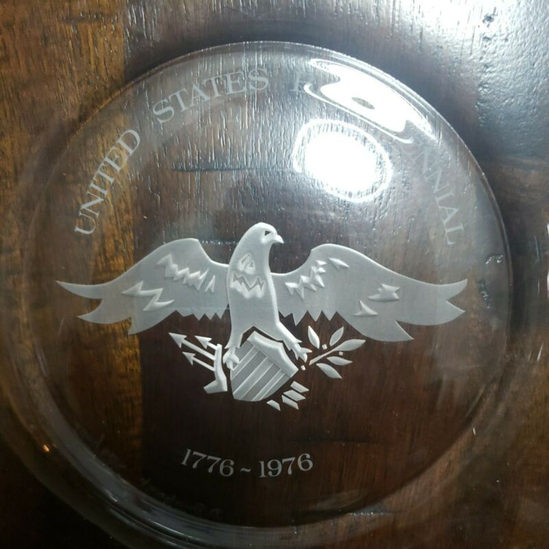 """Vintage USA Bicentennial Plate 1776-1976 Clear Glass Plate 9"""" 983 of 1000"""