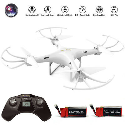 Cheerwing CW4 RC Quadcopter Drone 2.4Ghz Headless 720P HD Camera+2 Batteries