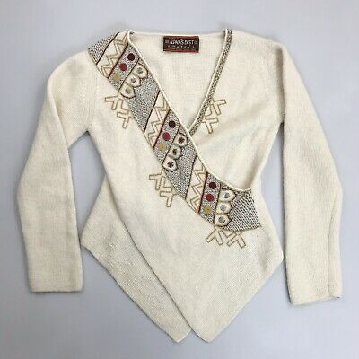 ALPACA'S BEST Faux Wrap Sweater Large Baby Alpaca Embroidered V-Neck Boho