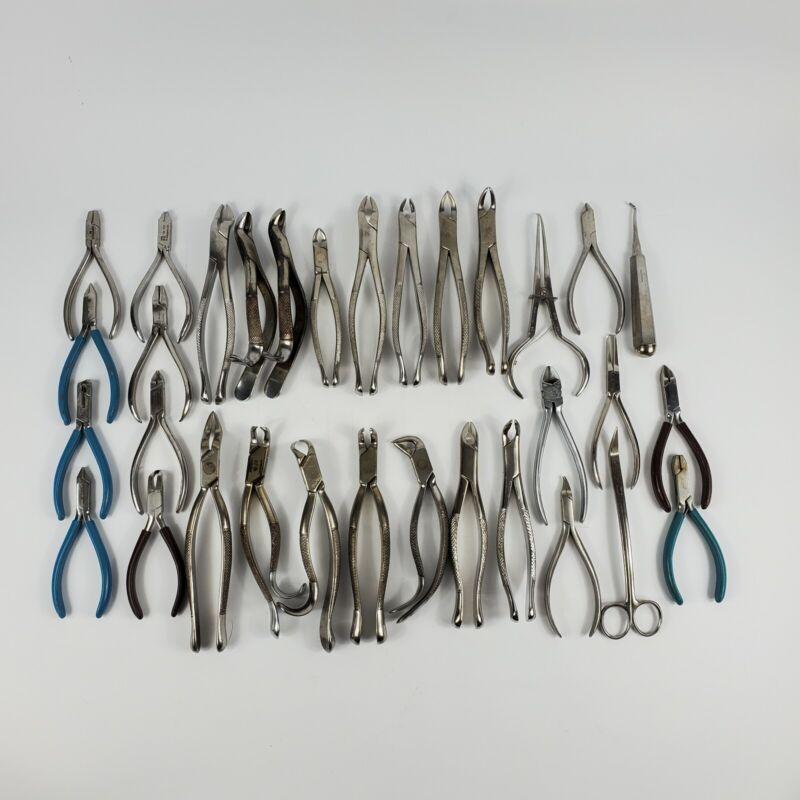 Lot Of 32 Dental Extraction Forceps Tools Tarno Clev Dent Misdom Frank TP Denovo