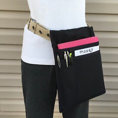 Black I Pad Wcover Belt Side Hip Apron Top Pocket Waiter Waitress Money Pouch