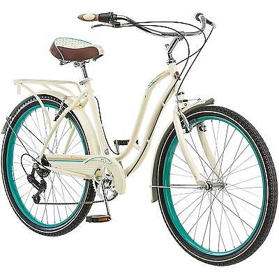 """26"""" Women's Hybrid 7-Speed Cream Cruiser Bike Beach Cardio Town Retro Bicycle"""