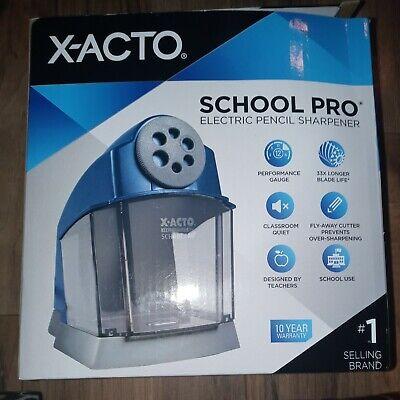 X-acto Schoolpro Classroom Electric Pencil Sharpener Heavy Duty Blue Grey 1670