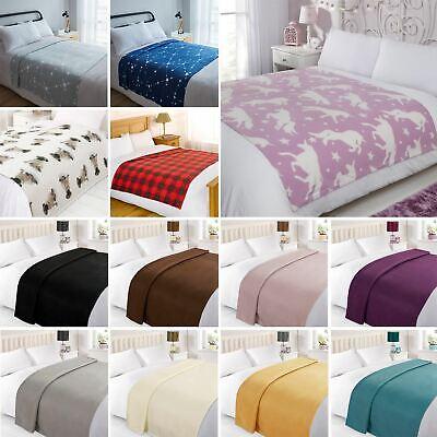 Dreamscene Warm Soft Plain Fleece Throw Over Large Decorative Sofa Bed Blanket