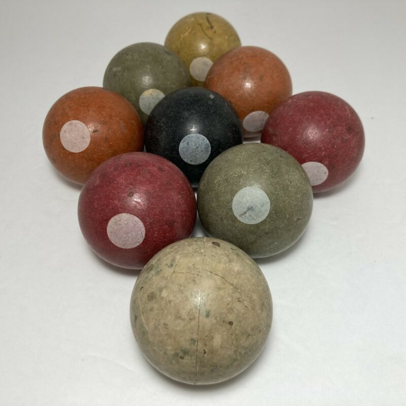 "Vintage Antique Bakelite Pool Ball Set of 9 Billiard Balls 2 1/8"" Diameter"