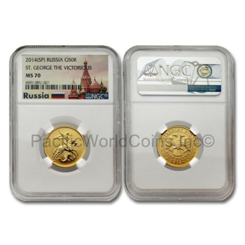Russia 2014 SP St. George the victorious 50 Rubles Gold Coin NGC MS70 SKU# 7652