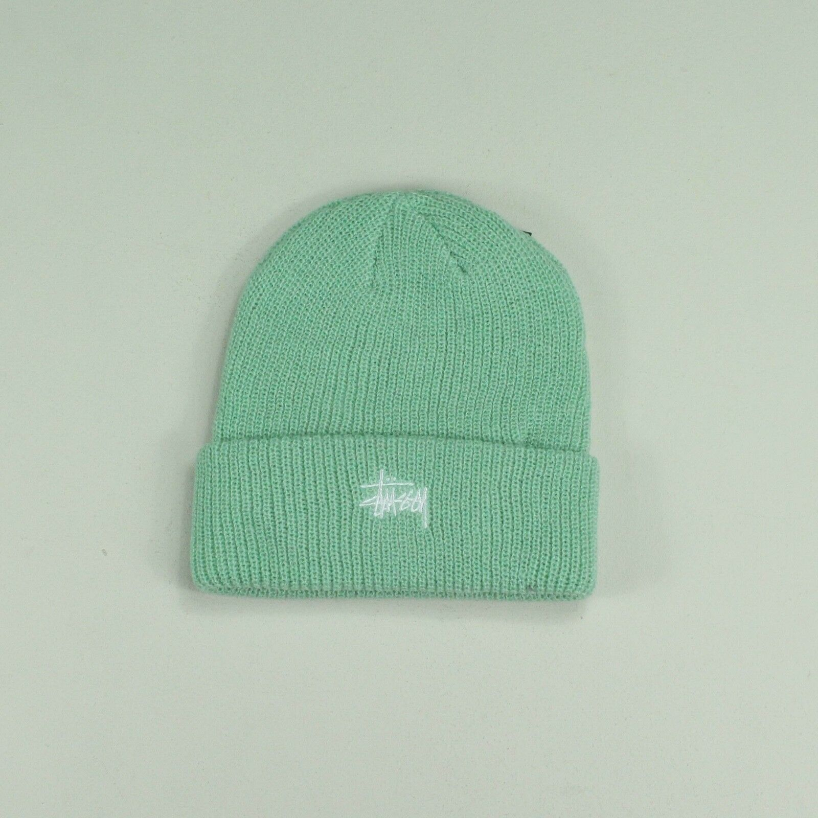 Details about Stussy Basic Embroidered Cuff Beanie Hat – Mint Green - One  size fits all b04b5fd3dbb