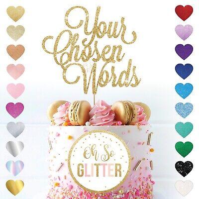 Customised Glitter Cake Topper Any Word Personalised Name Custom Gold Birthday