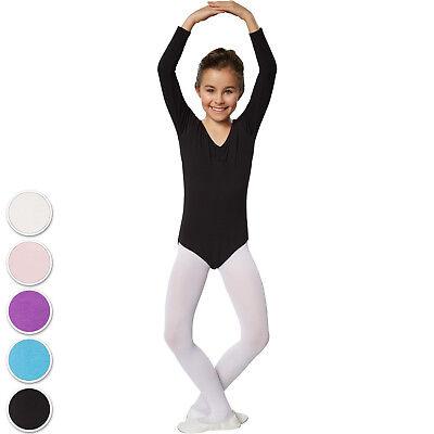 Langarm Body Kinder Trikot Einteiler Ballett Gymnastikanzug Turnanzug Kostüme - Kind Langarm Trikot