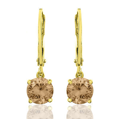 Gold Plated 4 Prong Basket Set Round Dangling Lever Back Earrings Champagne CZ