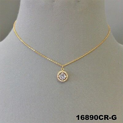- Elegant Gold Finish Clear Cubic Zirconia Pendant Dainty Necklace 16890CR-G