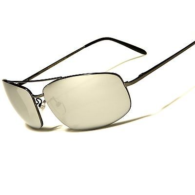 Silver Mirrored Lens Air Force Style Mens Womens Gunmetal Rectangle Sunglasses