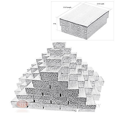 "100 Silver Foil Cotton Filled Jewelry Gift Boxes Charm Ring Box 3 1/4"" X 2 1/4"