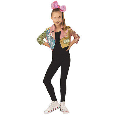 Toddler Biker Girl Halloween Costume (Toddler Kids Girls Jojo Siwa Halloween Costume Cropped Biker Jacket)