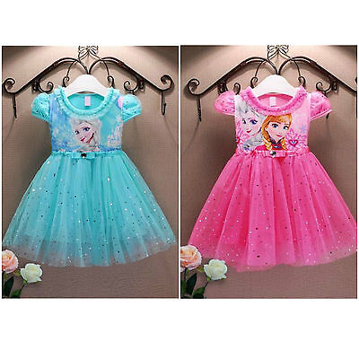 Baby Girls Disney Frozen Princess Elsa Anna Tutu Dress Party Fancy Blue Pink