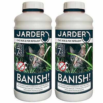 2 X JARDER BANISH CAT DOG FOX REPELLENT PROFESSIONAL LONG LASTING CITRUS SMELL