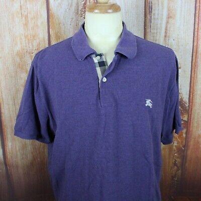 Burberry Brit Men's Polo Shirt XL - XXL Purple Nova Check Collar w Logo (Purple Burberry Polo)