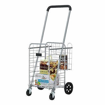 Utility Shopping Cart Foldable Jumbo Basket Grocery Laundry W Wheels Silver