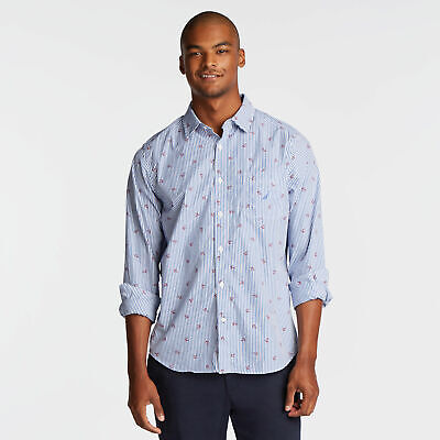 Nautica Mens Classic Fit Shirt In Stripe & Anchor Print