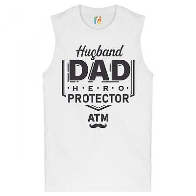 Husband Dad Protector Hero ATM Muscle Shirt Father's Day Papa Daddy Men's