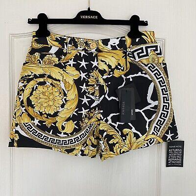 Versace Designer High Waist Printed Shorts Size UK 10