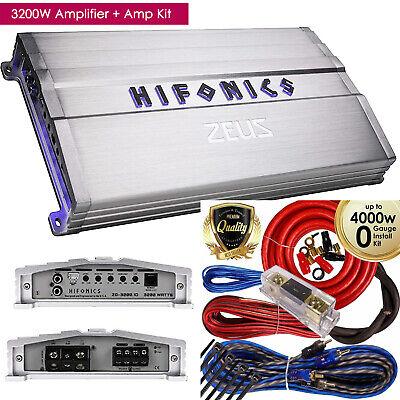 Hifonics Zeus ZG-3200.1D 3200W Mono Subwoofer Car Audio Amplifier + Amp Kit NEW