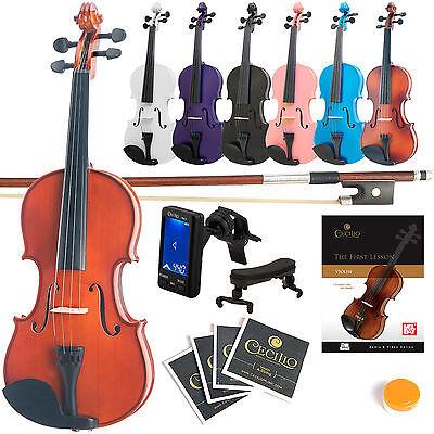 Купить Mendini - Mendini Solidwood Violin Size 4/4 3/4 1/2 1/4 1/8 1/10 1/16 +Tuner+Book/Video