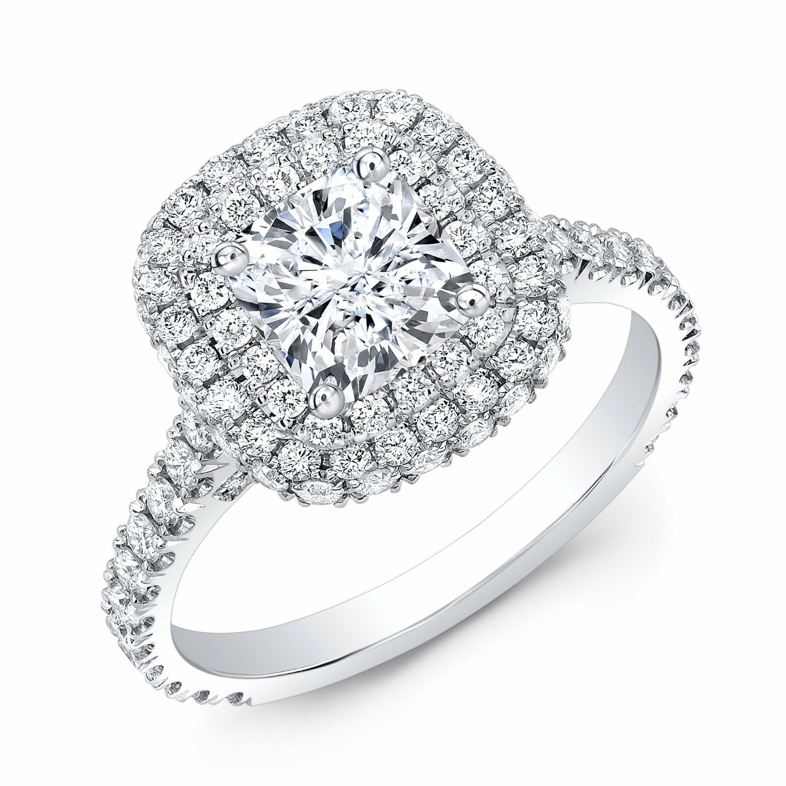2.40ctw Natural Cushion Double Halo U-Prong Diamond Engagement Ring - GIA