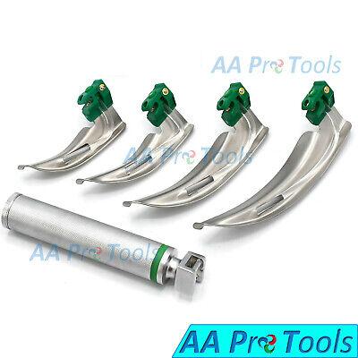Fiber-optic Laryngoscope Set Of 4 Intubation Blades 1234 Medium Handle