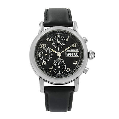 MontBlanc Meisterstuck Star Day Date Steel Black Dial Automatic Mens Watch 8451