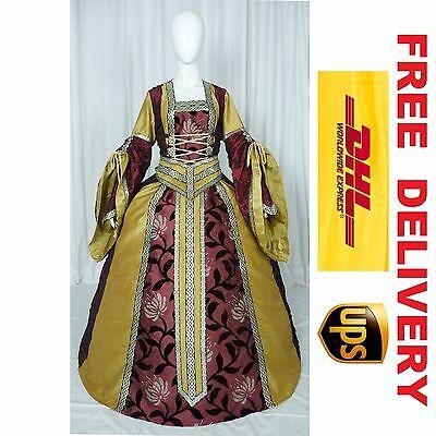 MEDIEVAL RENAISSANCE TUDOR WEDDING HANDFASTING LARP GOWN DRESS COSTUME (19J)