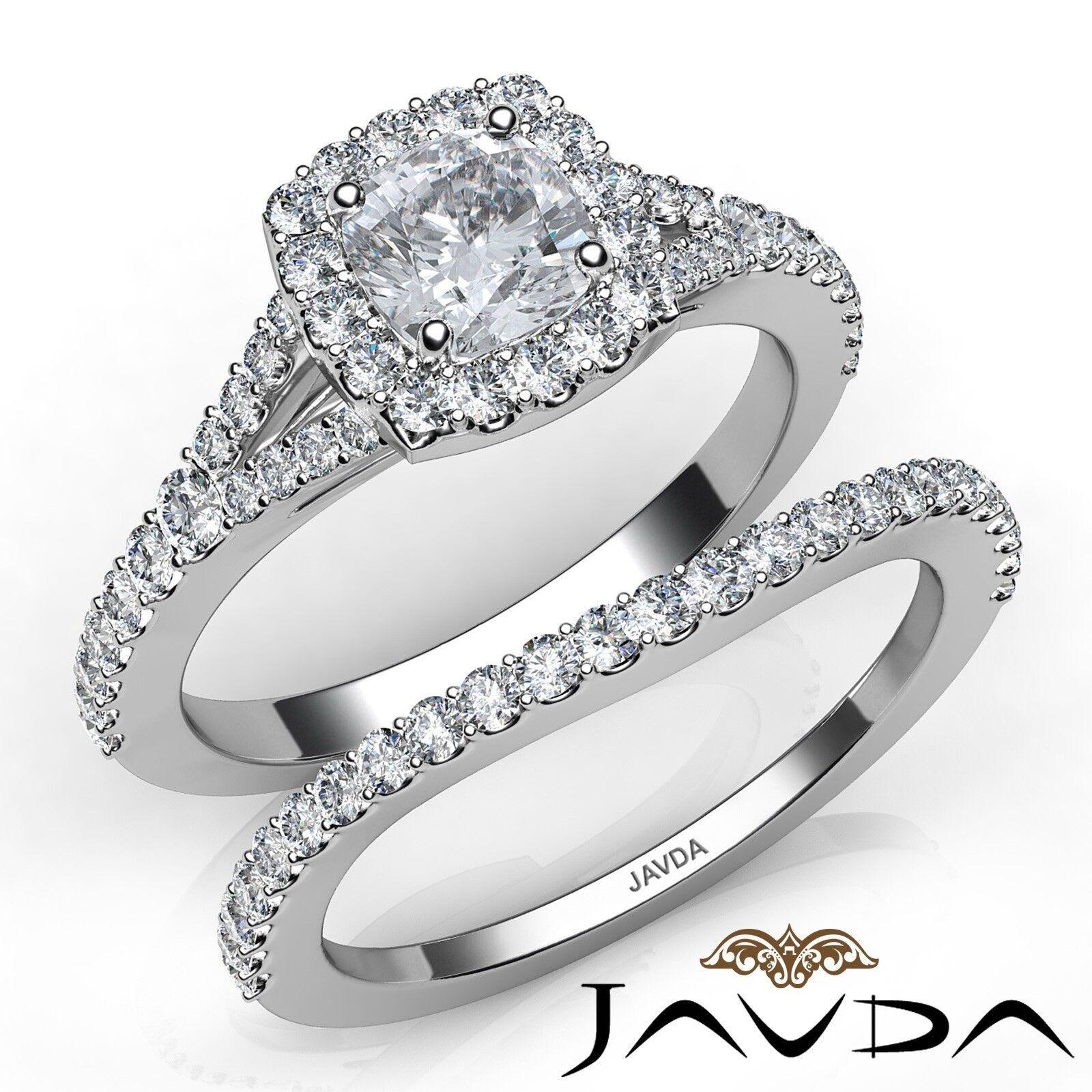 1.5ctw U Cut Pave Halo Bridal Cushion Diamond Engagement Ring GIA F-VS2 W Gold