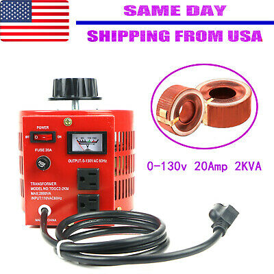 20amp 110v Variable Ac Power Transformer Regulator 0-130v 20a Metered