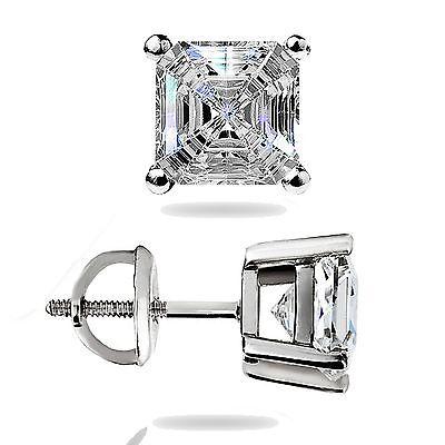 1.50Ct Asscher Cut Solitaire Stud Earrings Lab Diamond 14k White Gold Screw Back