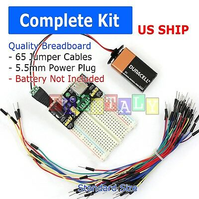 400 Point Solderless Breadboard 65 Pcs Jumper Cable Mb-102 Power Supply Module
