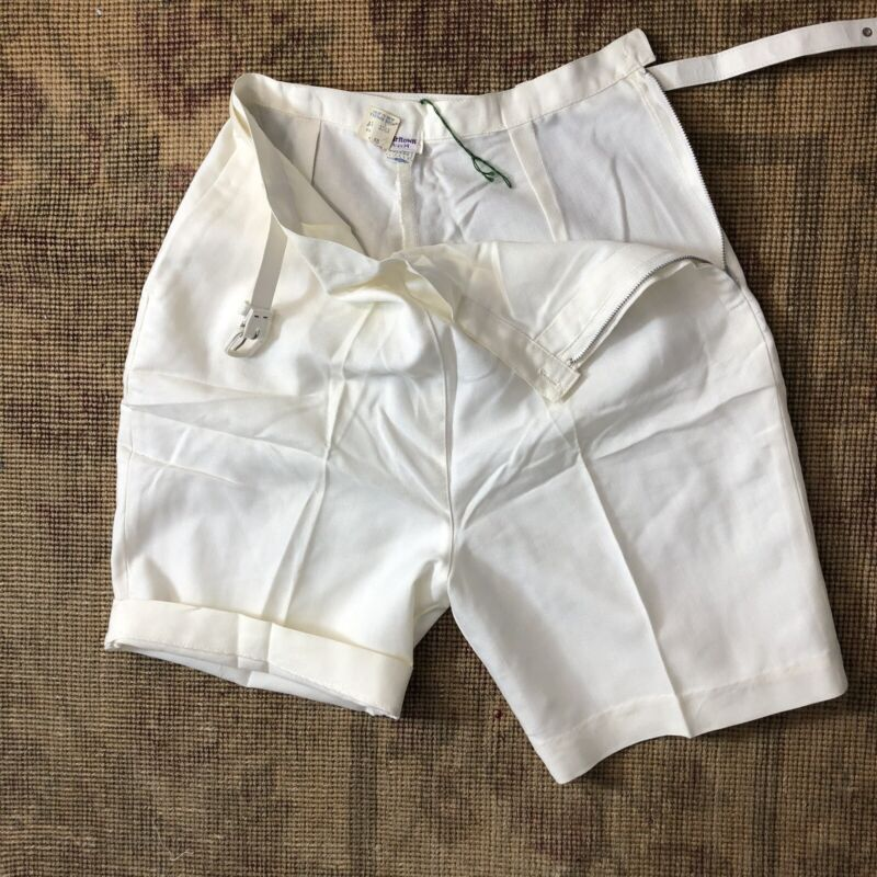 Vtg 50s 60s Shorts High Waist Belted Darted Side Metal Zip Rockabilly Nautical