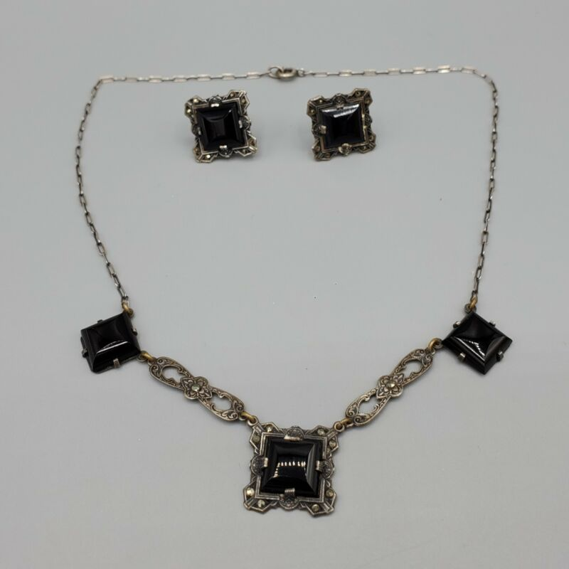 1920s Hycraft Signed Art Deco Sterling Silver Onyx Marcasite Necklace & Earrings