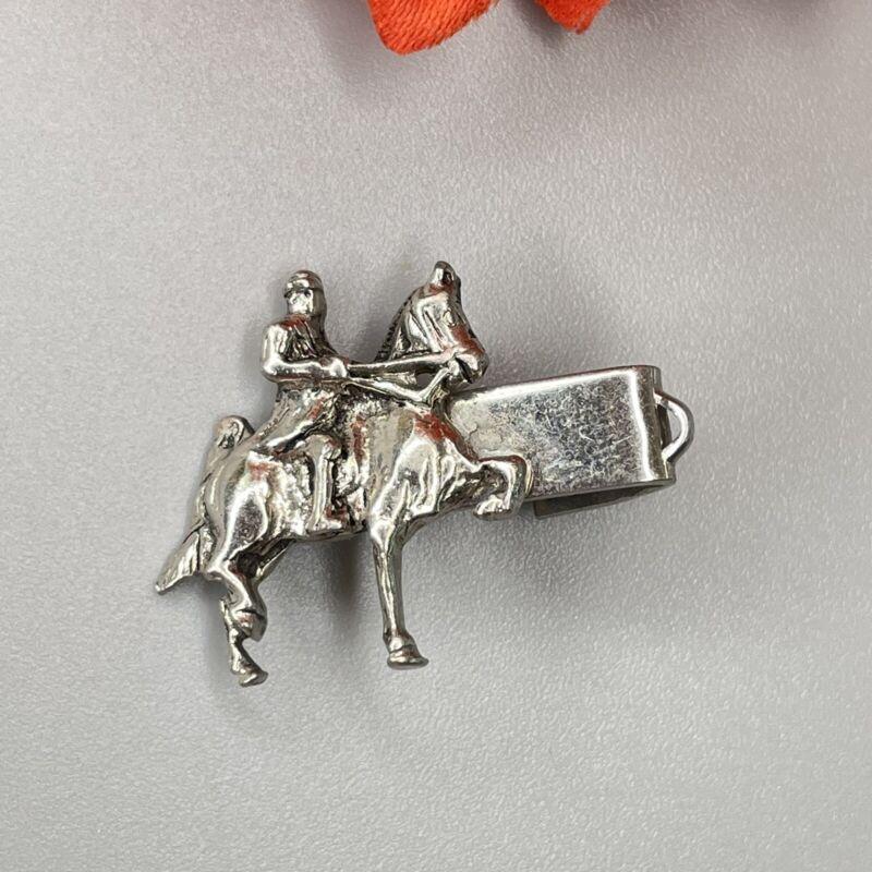 Vintage Equestrian Silver Tone Horse & Rider Walking Horse Tie Clip