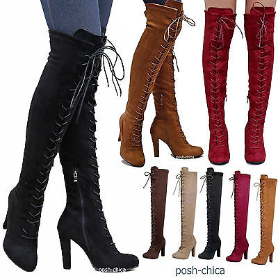 New Women DA14 Stretchy Lace Up Over the Knee Thigh High Combat Heel Boot 5.5-10
