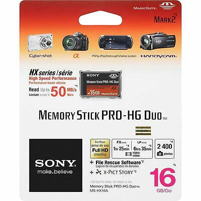 Sony 16 Gb Memory Stick Pro Duo (Memory Stick PRO-HG Duo HX Sony, 16GB, inkl. File Rescue/X-Pict Story Software)