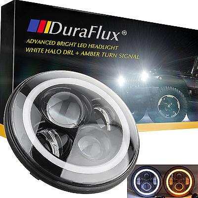 DuraFlux 7 Inch CREE LED Headlight for Jeep Wrangler Hi/Low Beam White Angel Eye