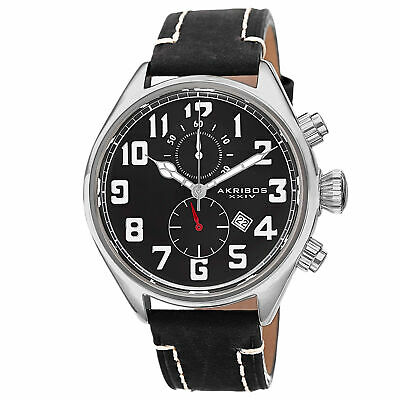 New Men's Akribos XXIV AK706SSB Quartz Chronograph Date Black Leather Watch