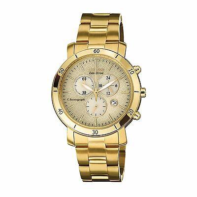 Citizen Eco-Drive Women's Chronograph Gold Tone Bracelet 41mm Watch FB1342-56P