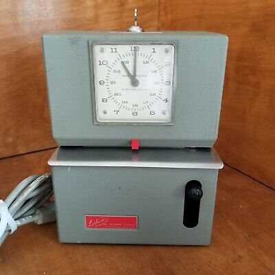 Vintage Lathem Industrial Time Clock Punch Card Recorder With Key