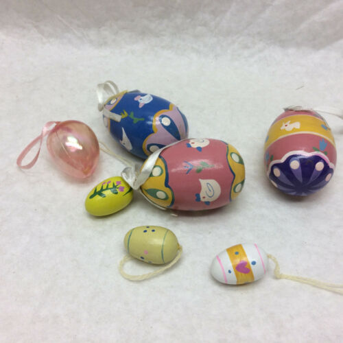 7 Hanging Easter Egg Decorations Wood Painted & Plastic