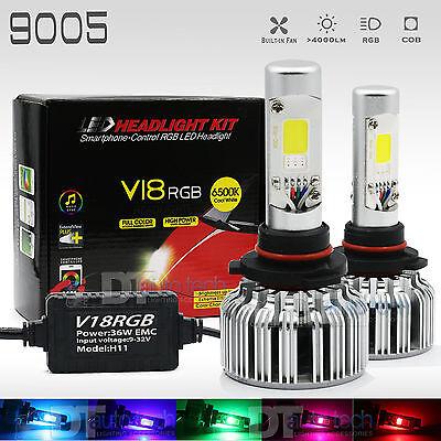2017 2 in 1 9005 100W 10000LM CREE LED Headlight DRL+RGB Bluetooth Phone Control